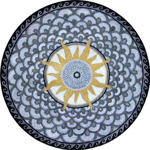 Marble Mosaic Stone Medallion Stone Pool Floor, 48