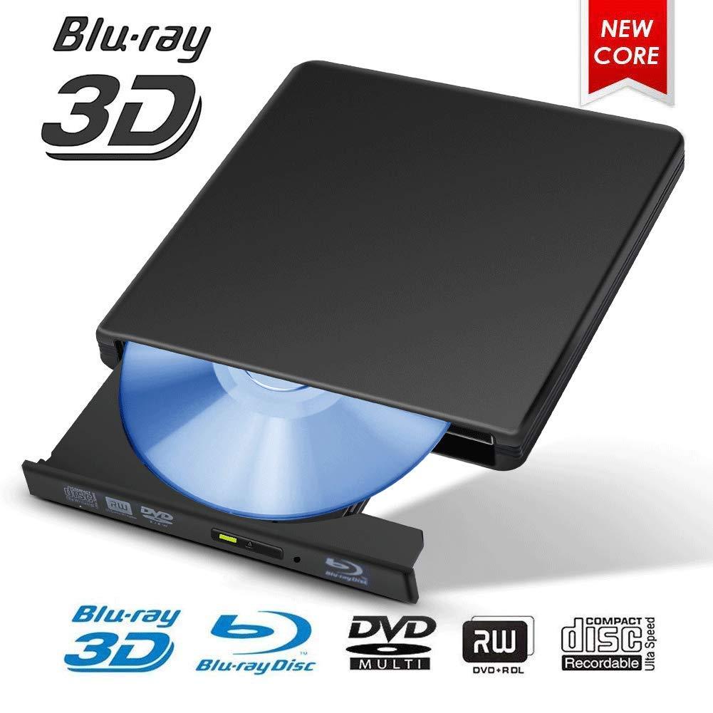 Dpowro External Blu-ray Drive, USB 3.0 Ultra-Thin External 4K 3D Blu Ray Player Writer for Laptop Notebook PC Desktop Computer, Support Windows XP/Vista/7/8/2000,Mac