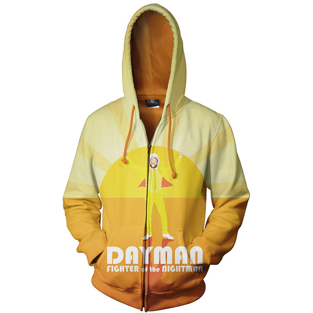 Men 3D Zipper Hoodies Longsleeve Crewneck Hooded Sweatshirt Space Smoking Monkey Print Fashion Jacket