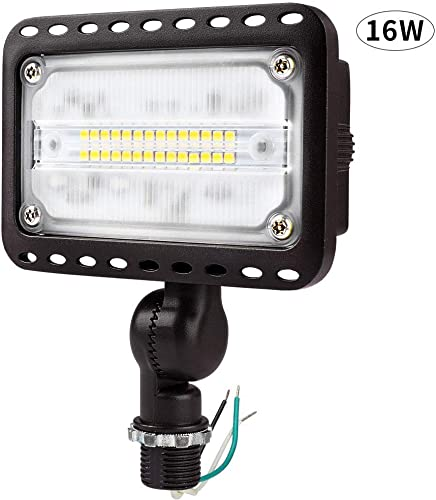 CINOTON 16W LED Flood Light Outdoor, IP65 Waterproof Led Flood Light with Knuckle Mount 1500 Lumen 100W Incandescent Equivalent 3000K Warm White LED Flood Light for Yard Garden UL Listed