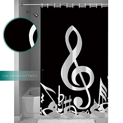 RAINBOWTIME Music Decor Shower Curtain Notes Artwork Mildew Resistant Fabric Curtains Bathroom Decoration 70 X