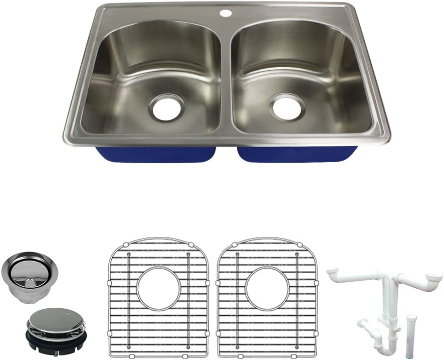 Transolid K-MTDD33229-1 Meridian 1-Hole Drop-in 50 50 Double Bowl 16-Gauge Stainless Steel Kitchen Sink Kit, 33-in x 22-in x 9-in, Brushed Finish