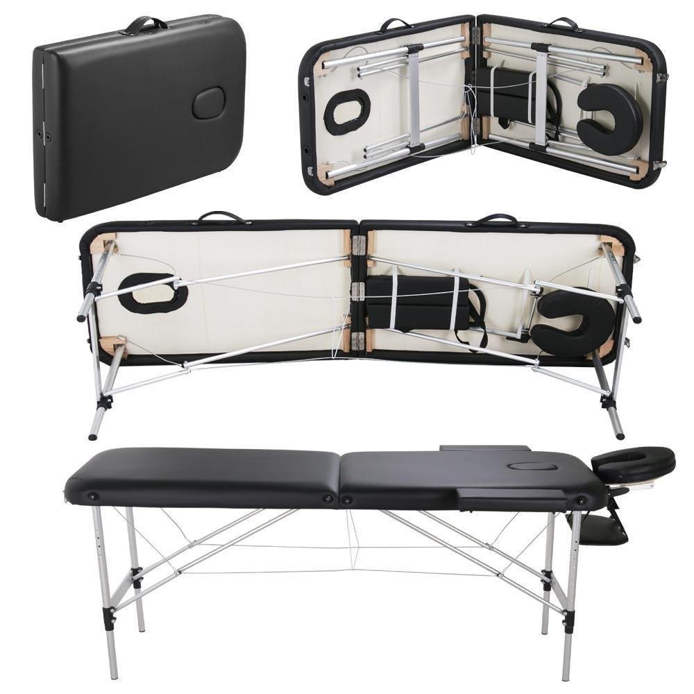 Popamazing Deluxe Professional Aluminum 2-Section Portable Massage Table Couch Bed Reiki w/Carry Bag,Black