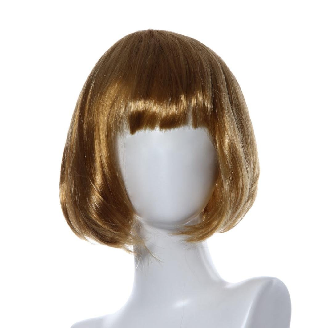 Susenstone Multicolour Small Roll Bang Short Straight Hair Wig for Women Girl Cosplayer (Pink)