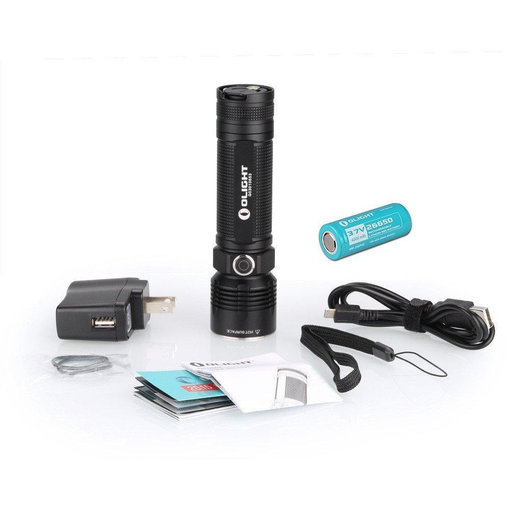 Olight® R40 Seeker Taschenlampe 1100 Lumen mit CREE XM-L2 LED und Micro-USB Anschluss wiederaufladbar, inkl.1 x wiederaufladbar 4000mAh 26650 Lithium Batterie, 1 x USB Ladekabel, 1 x AC Stecker (UK) und 1 x Handschlaufe, Schwarz