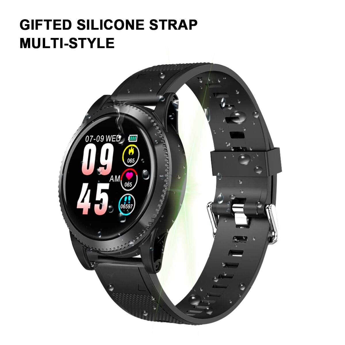 GOKOO Smartwatch Deporte Hombre, Pulsera Inteligente Monitores de Actividad Impermeable IP67 con Monitor de sueño Pulsómetros Podómetro Contador de ...