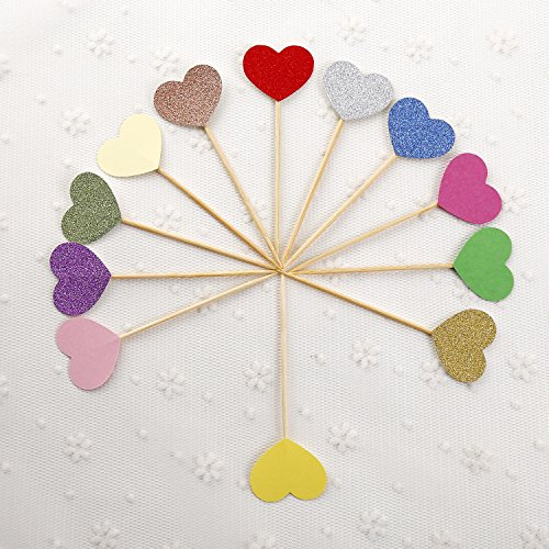 50pcs Cupcake Topper Gold Glitter Love heart Cupcake Toppers Wedding Bamboo Fruit Cocktail Forks Party Finger Food Wedding Cupcake Toppers, Bridal Shower Cupcake Toppers Valentine's (Finger Foods For Bridal Shower)