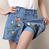 Eternal Women Casual Embroidery Denim Mini Skirts with Shorts Jeans Skorts Floral Skirt