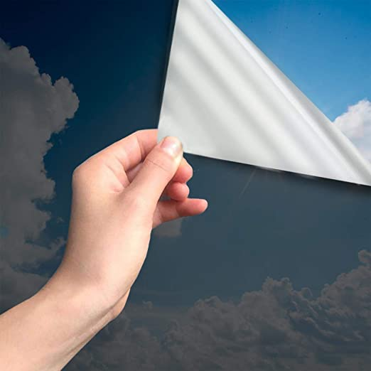 MARAPON Spiegelfolie selbstklebend [90x200 cm] - Spiegelfolie Fenster Sichtschutz 99%-UV-Schutz, Infrarot-Schutz - Wärmeschut
