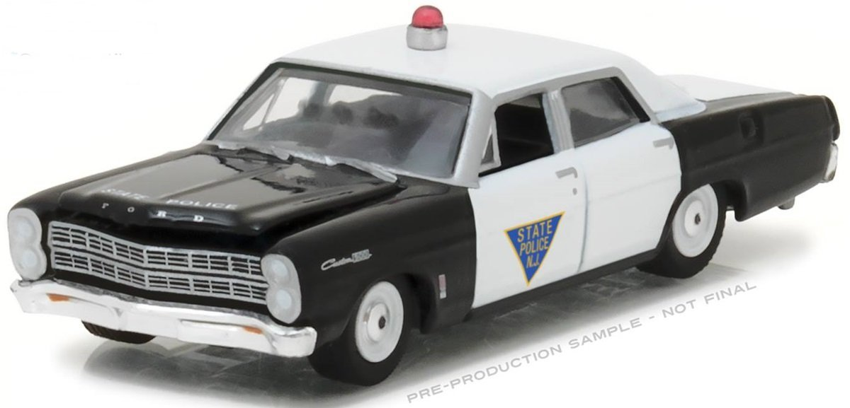 NEW 1 64 GREENLIGHT HOT PURSUIT SERIES 23 ASSORTMENT 1967 FORD CUSTOM 500 STATE POLICE NEW JERSEY BLACK WHITE Diecast Model Car By Greenlight