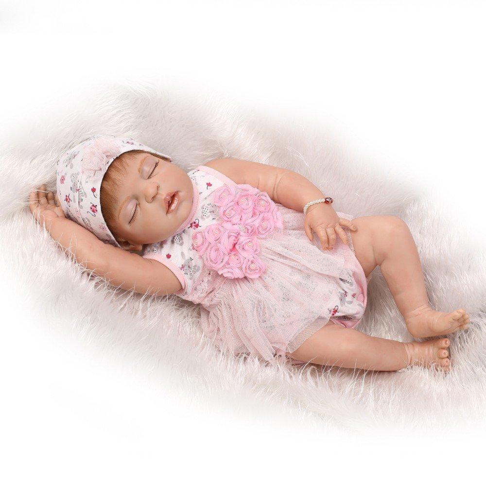 """icradle 22 """" 55 cmハンドメイドリアルなフルシリコンビニールLovelyかわいい睡眠SweetガールRebornベビー人形LifelikeおもちゃNewborn Doll with Free磁気おしゃぶり解剖学的に正しいWeighted Xmasギフト   B07BQQ6S6G"""