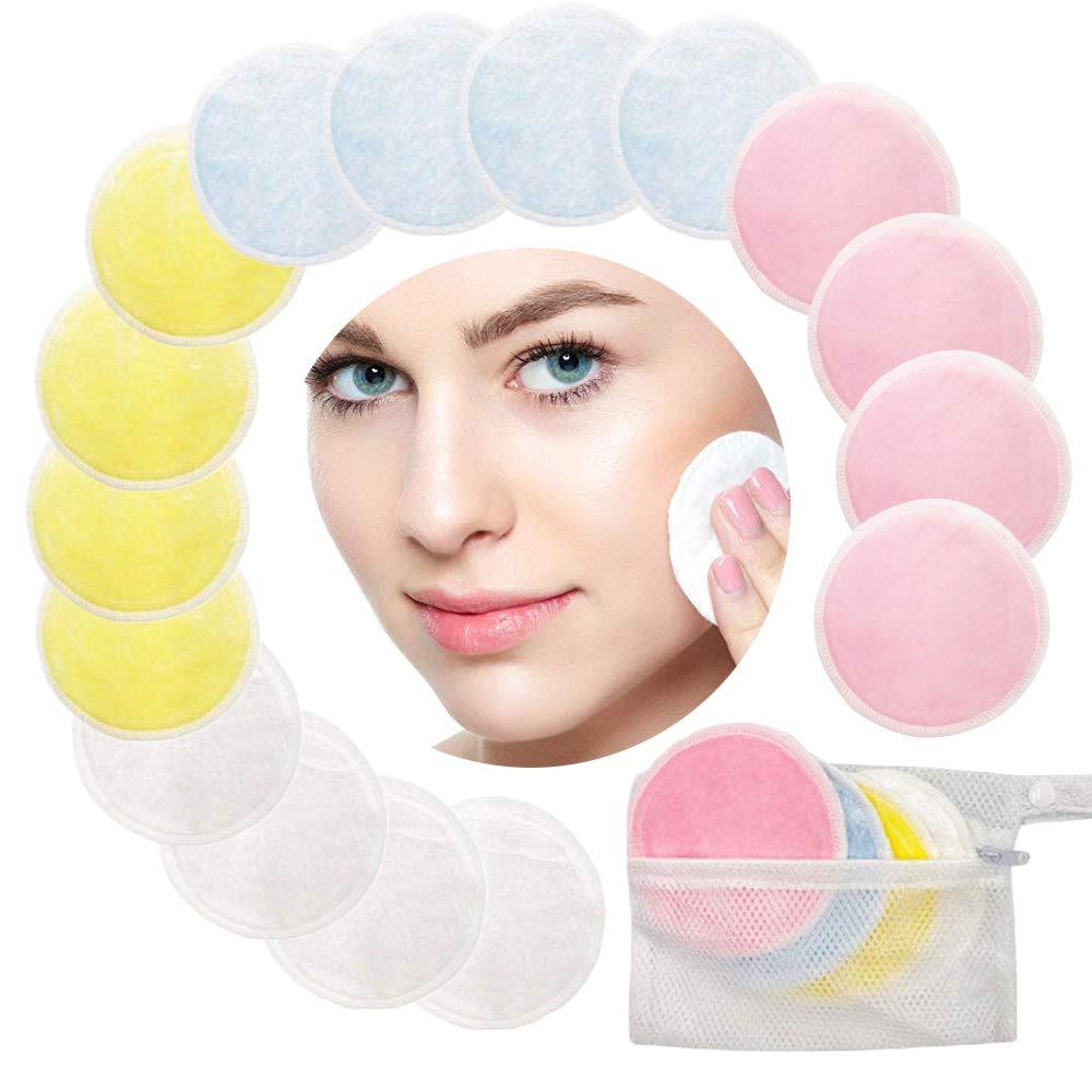 Amaza 16 Pieza Discos Desmaquillantes con Bolsa de Lavandería, Almohadillas Reutilizables para Quitar Maquillaje, Almohadillas lavables de algodón de bambú (4 Colores) Almohadillas lavables de algodón de bambú (4 Colores)
