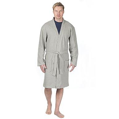 e3bc868c38 Men s Luxury Towelling Bath Robe Cotton Blend Waffle Weave Kimono Gown  House Coat Grey Medium