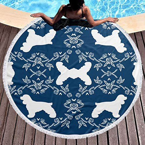 Dlskjda Cocker Spaniel Dog Breed Silhouette Florals Navy Round Beach Towel Blanket with Tassels,Beach Microfiber Round Beach Towel Picnic Carpet Yoga Mat