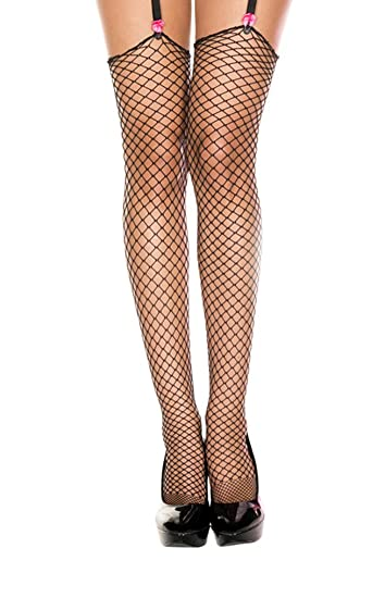6938a4093 Amazon.com  One Size Women - Unbanded Diamond Net Thigh High Stocking   Thigh Highs Hosiery  Clothing