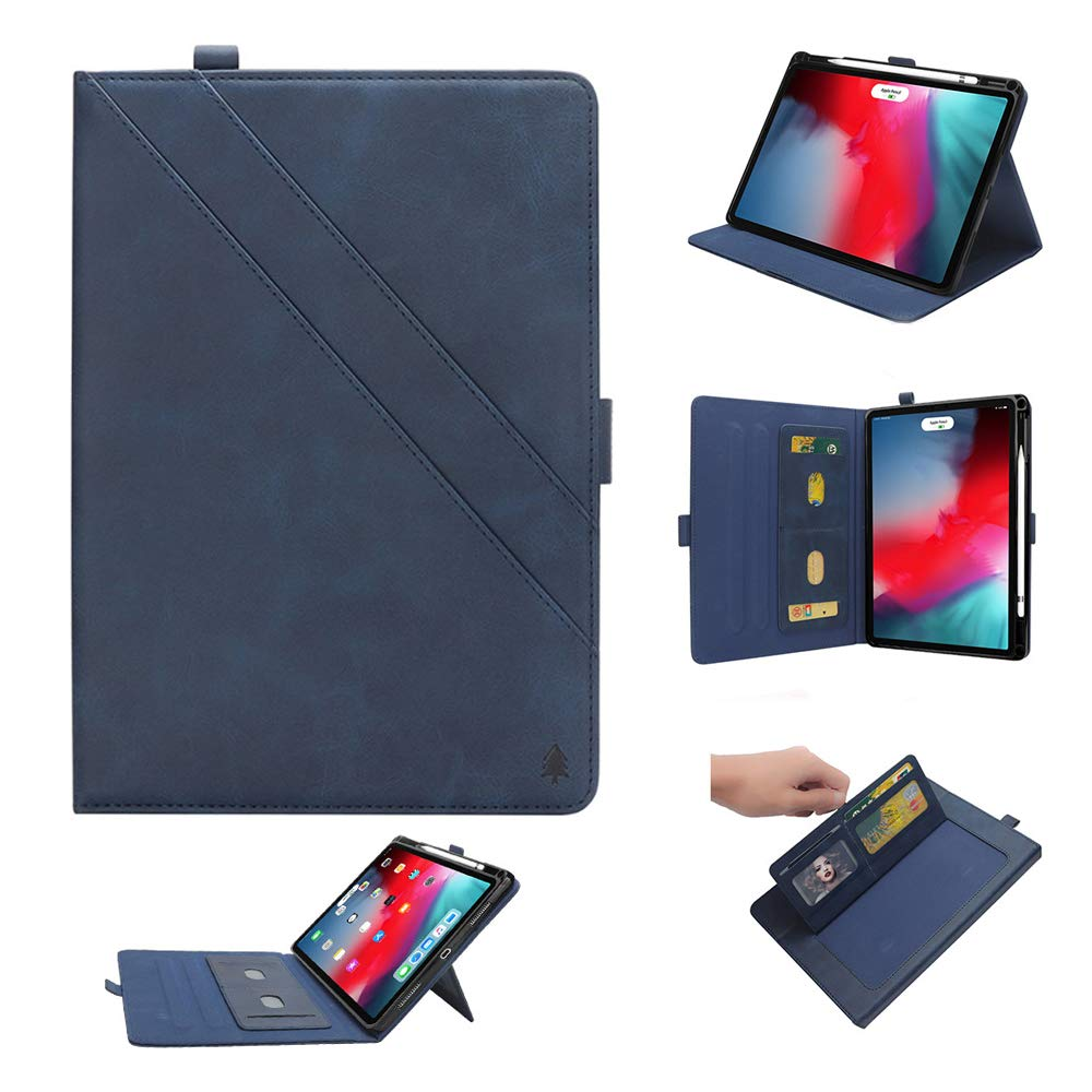 iPad 12.9'' Pro Case, YiMiky Book Cover Case Protective Folio Case PU Leather Stand Cover with Pencil Slot [Support Apple Pencil Charging] Smart Cover Case for 2018 iPad Pro 12.9 Inch - Dark Blue