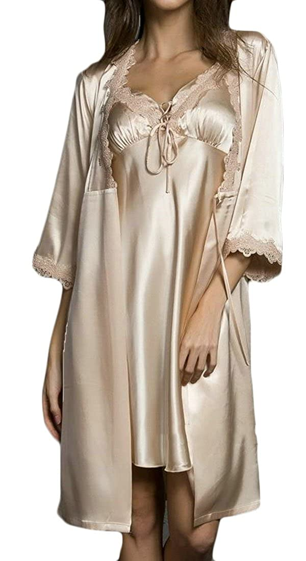 Cromoncent Womens Spaghetti Strap Faux Silk Babydoll Bath Robe Silk Two Pieces Sleepwear Nightgowns