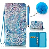 iPhone 6/6S Plus Case, Vandot Stylish Paint Pattern PU Leather Flip Standing Leather Case Cover Case Cover with Card Slot Magnetic and Scratch Resistant for iPhone 6/6S Plus 5.5 inch + 1x Pompon Ball of Hair + 1x Stylus Pen , Flower Mandala Design