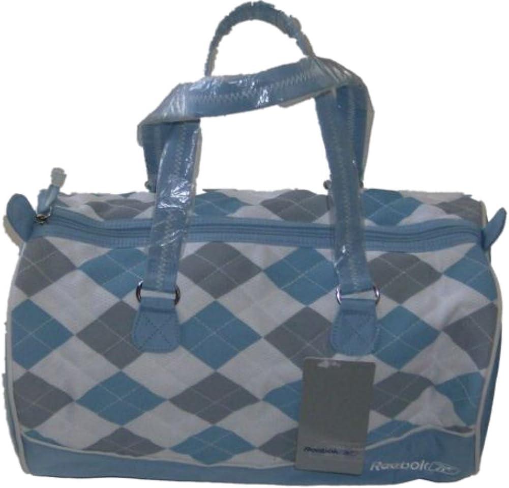 Blue and White Argyle Pattern Gym Bag