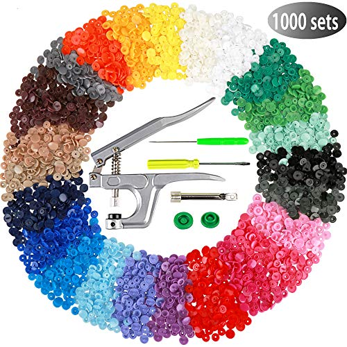 Efivs Arts 1000 Sets T5 Snap Buttons with Plastic Snap Press Pliers Set for Sewing and Crafting-25 Colors Valentines Day GIFS for Wife