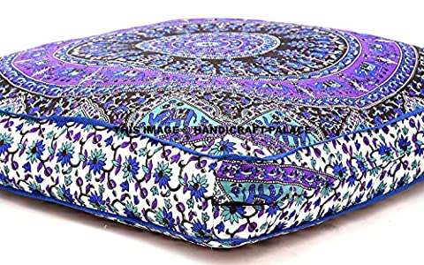 Indian Psychedelic Elephant Mandala Floor Pillow Square Ottoman Pouf Daybed Oversized Cushion Cover Outdoor Sofa Throw Large Floor Pillows (Couch Cover Ottoman)