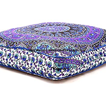 Indian Psychedelic Elephant Mandala Floor Pillow Square Ottoman Pouf Daybed Oversized Cushion Cover Outdoor Sofa Throw Large Floor Pillows 3535\