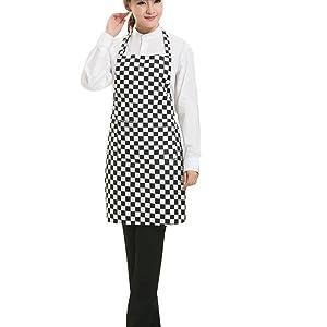 Hrph Ajustables Delantal de la raya del babero delantal con bolsillos frontales herramienta de cocina del cocinero para los cocineros que cocinan la carniceros Camarero