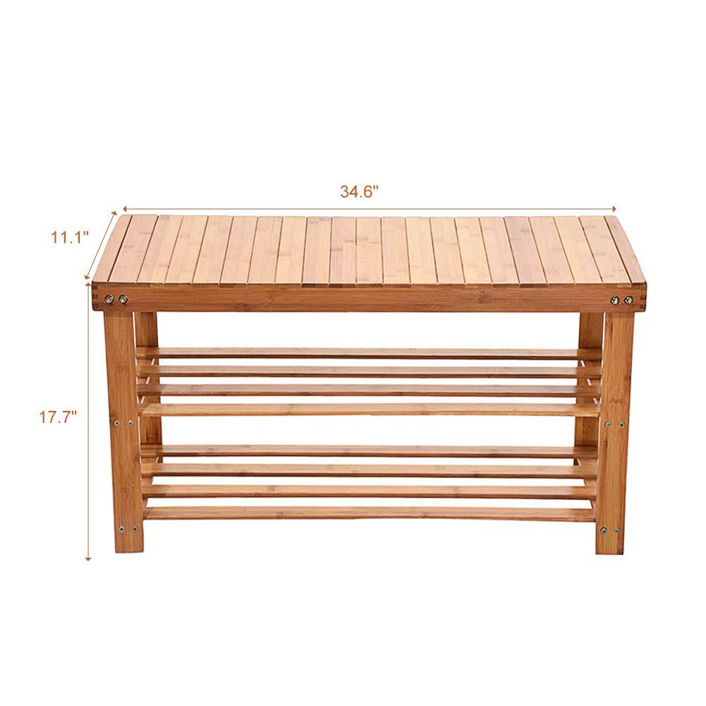Amazoncom Micozy Bamboo Shoe Rack Bench 3 Tier Free Standing Wood