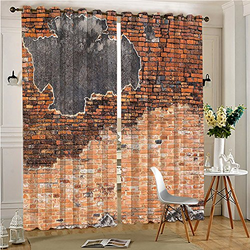 Patio Brick Pattern - AmaParkhome Thermal Insulated Blackout Outdoor Curtain Cracked Concrete Brick Wall Style Ruined Pattern Image Black Tile Red Drape for Patio(2 Panels, 54