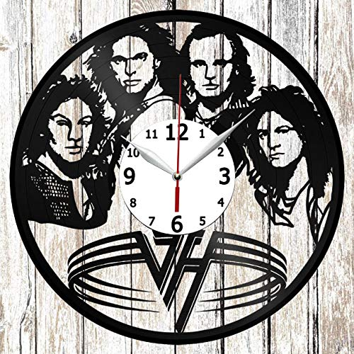 (Van Halen Vinel Record Wall Clock Home Art Decor Original Gift Unique Design Handmade Vinyl Clock Black Exclusive Clock Fan)