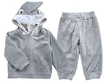 ALVA Child cartoon shark velvet suit long sleeved sweater(BCN53)-Large gray