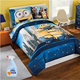 Minions 6-Piece FULL Size Kids Bed in a Bag Reversible Comforter Set, Made of 100% Polyester with BONUS Fabric Refresher