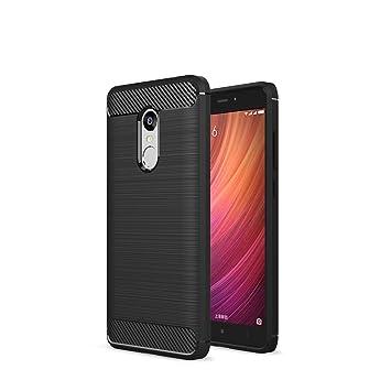 XiaoMi RedMi Note 4X Funda - Carbon fiber Soft Silicone Case Carcasa Funda para XiaoMi RedMi Note 4X - Negro
