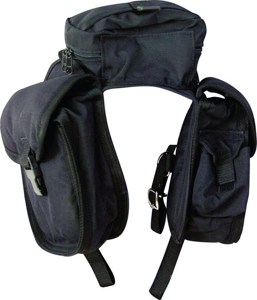 Cashel Quality Deluxe English Front Saddle Bag, Center Pouch and Side Bags, 600 Denier Material - Color Choice: Black