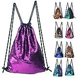 ZTMY Glitter Sequins Backpack Drawstring Backpack Sackpack Outdoor Shoulder Bag for Travel Shopping Sport (Purple)