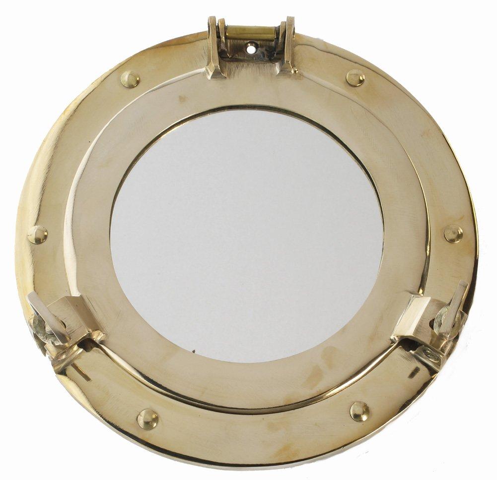 RedSkyTrader 9'' Polished Brass Porthole Mirror - Nautical Home Decor