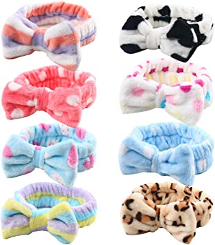 Big Bow Soft Striped Headband For Makeup Shower Beauty or Party Filler BN