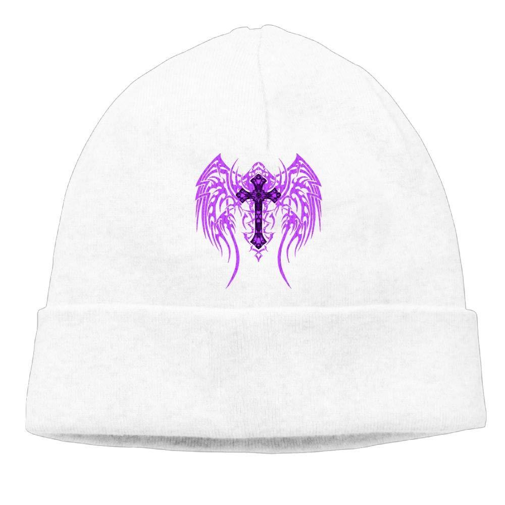 Beanie Hats Purple Cross Wings Knit Caps for Women Men