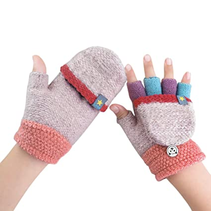 547ff3d27 Amazon.com  Kids Toddler Thermal Flip Top Gloves Mittens with Mitten ...