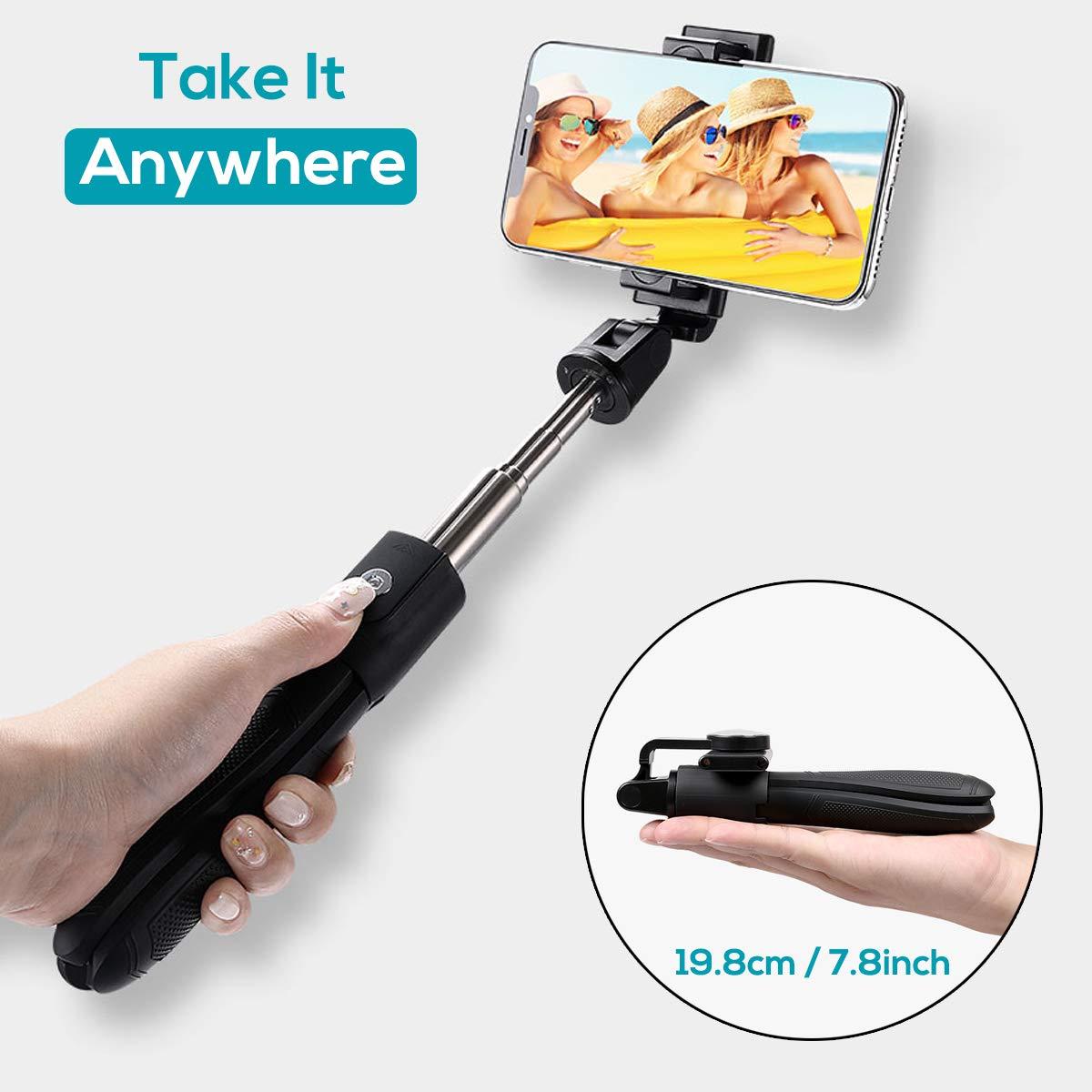 LATEC Palo Selfie Trípode, Selfie Stick Extensible con Mando a Distancia Inalámbrico por Bluetooth para Móviles de 3.5 a 6 Pulgadas como iPhone, ...
