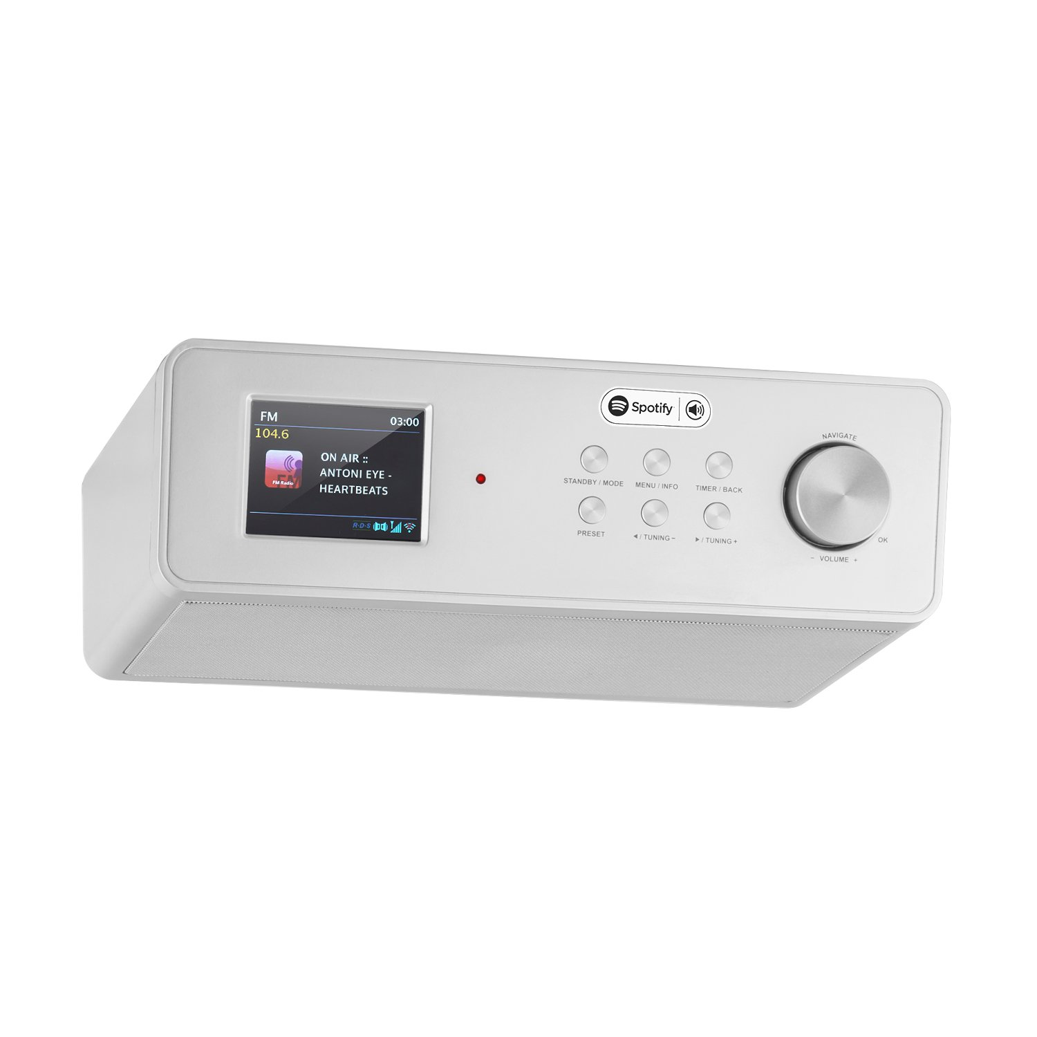 auna KR-200 SI Under Cabinet Radio • Kitchen Radio • Spotify Support • Broadband Speaker • TFT Color Display • Remote Control • FM Tuner • RDS Support • WiFi • AUX • 10 Station Presets • Silver
