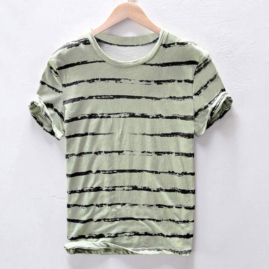 Karinao Herren T-Shirt Sommer Beil/äufig Kurzarm Shirt Mit Streifen Und Rundhalsausschnitt f/ür Outdoor-aktivit/äten 2XL,Grau