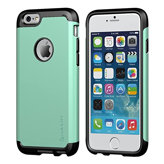pretty nice 13a76 ac8e6 Luvvitt Ultra Armor Shock Absorbing Heavy Duty Dual Layer Case for Apple  iPhone 6 / iPhone 6s - Black/Turquoise Teal Mint Green