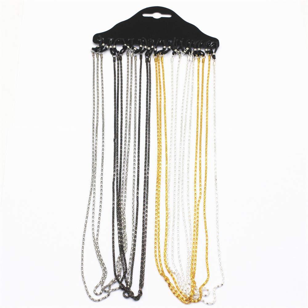 ZHU YU CHUN 12 Pcs Metal Eyewear Cord, Glasses Chain Strap, Neck String, Spectacle Frame Holder (Black,White,Gold,Silver) by ZHU YU CHUN
