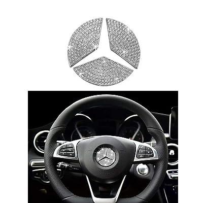 MAXMILO Steering Wheel Logo Badge Emblem Cover Sticker for Mercedes-Benz A B C E S CLA CLS GLA GLC GLE GLK GLS Class Diamond Decoration (49MM): Automotive
