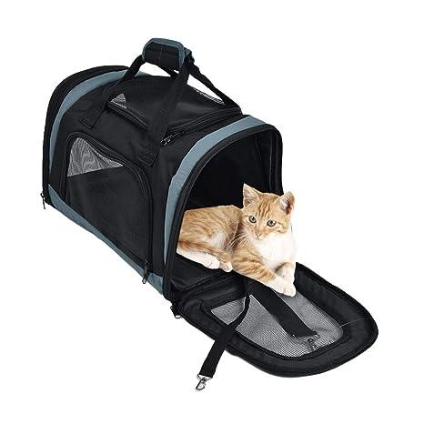 Bolsa De Viaje De Pet Carrier para Perros Gatos Cachorros Gatitos Mascotas, Suave Lado Acogedor