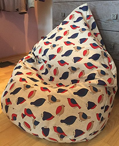 Natural Linen Beanbag Cover Kids and Adults Bean Bag Chair Birds Print Handmade soft Chair Playroom furniture Original Gift Red and Blue Floor Pillow