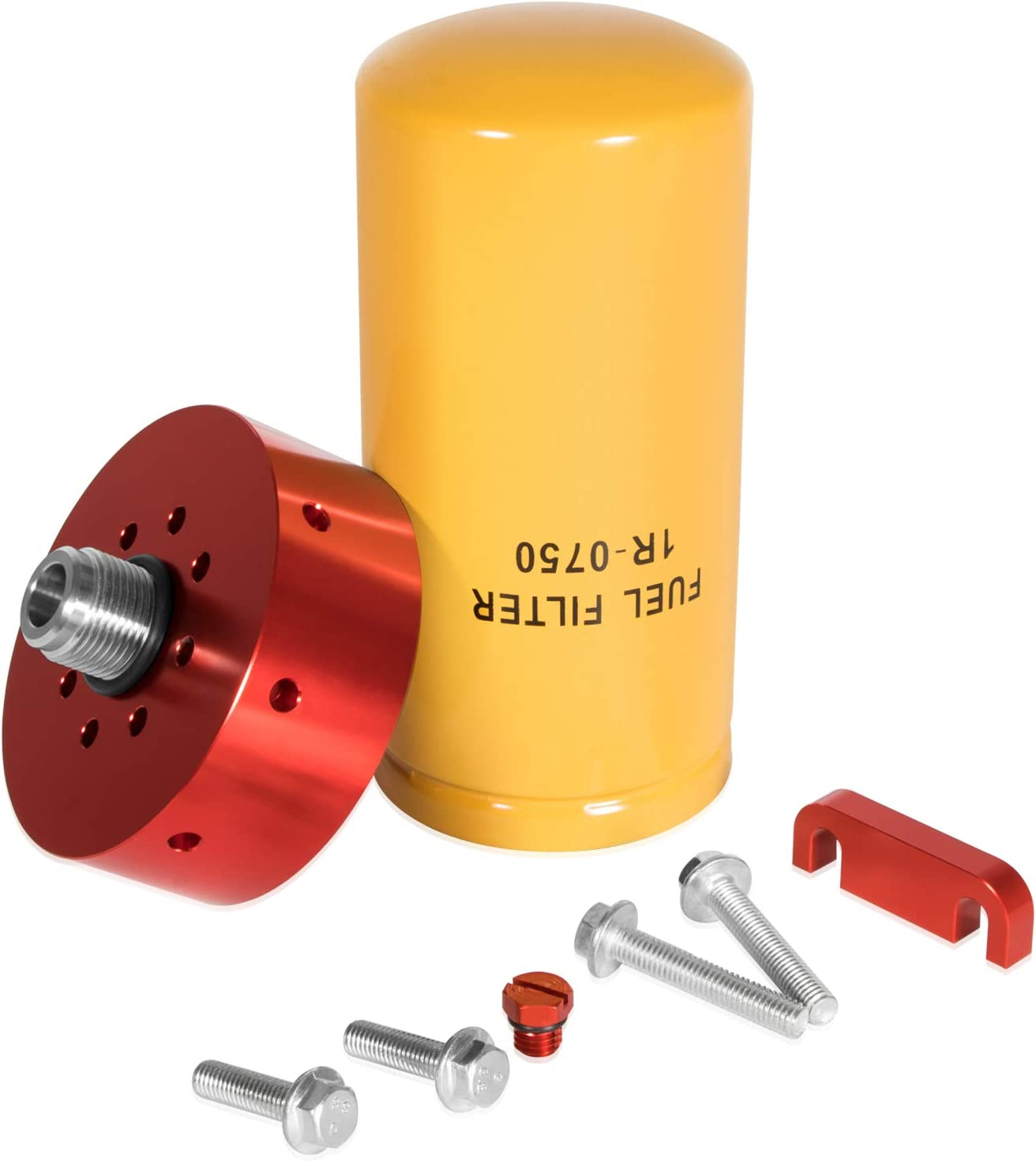 Filter Head Spacer /& 4 Bolts Increased Filtration for 2001-2015 GM 6.6L Duramax 1R-0750 Fuel Filter with CAT Adapter Air Bleeder Screw
