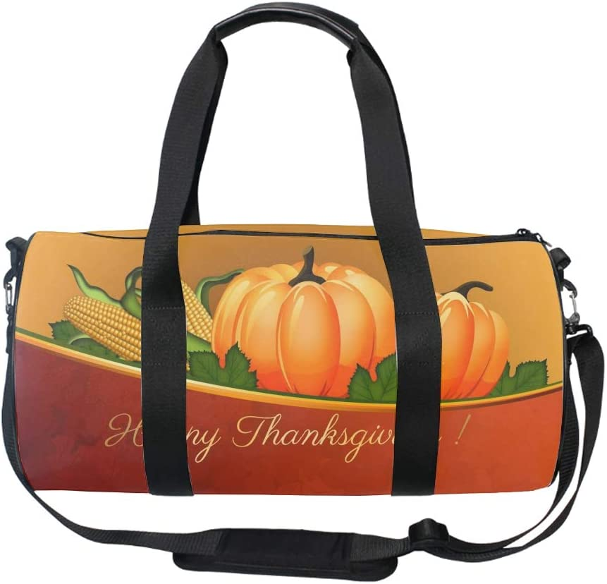 Fuuny Halloween Pumpkin Gym Bag Sports Duffel Bag Barrel Holdall Bag For Travel Gym Sports Bag