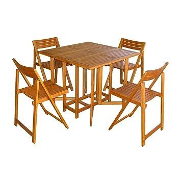 Amazon Offerte Tavoli Da Giardino.Set Con Tavolo 4 Sedie Birra Il Legno Acacia Massiccio Per